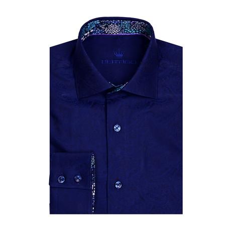 Paisley Jacquard Long Sleeve Shirt // Navy Blue (XS)