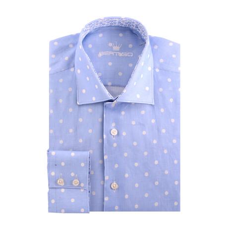 Linen Dotted Short Sleeve Shirt // Blue (S)