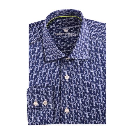 Scissor Poplin Print Long Sleeve Shirt // Navy Blue (XS)