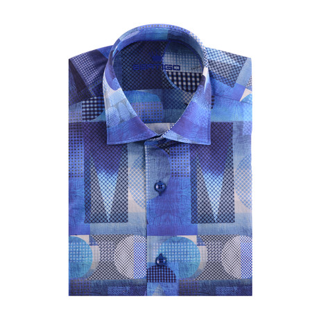 Abstract Art Print Poplin Short Sleeve Shirt // Navy Blue (S)