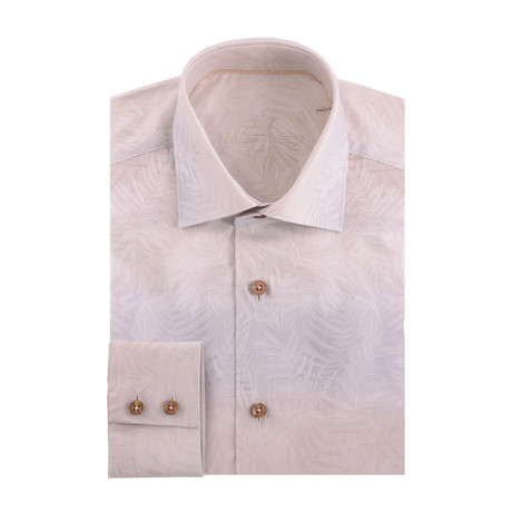 Jacquard Long Sleeve Shirt // Cream (S)