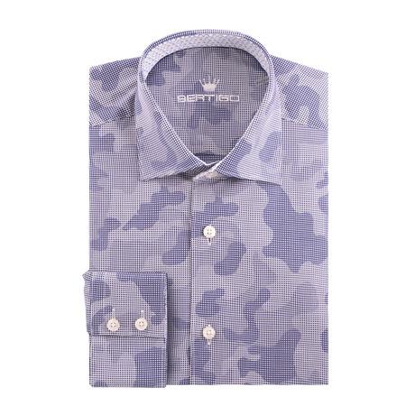 Jacquard Long Sleeve Shirt // Navy Blue (XS)
