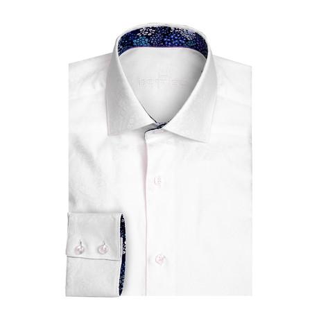 Jacquard Long Sleeve Shirt // White (XS)