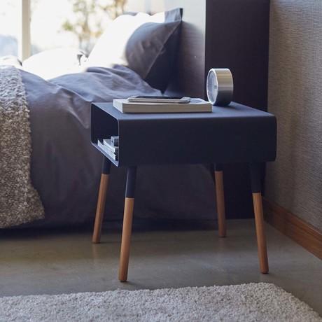 Plain Side Table + Storage Shelf // Black