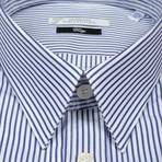 Striped Dress Shirt // Dark Blue (US: 42R)