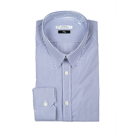 Striped Dress Shirt // Dark Blue (US: 38R)