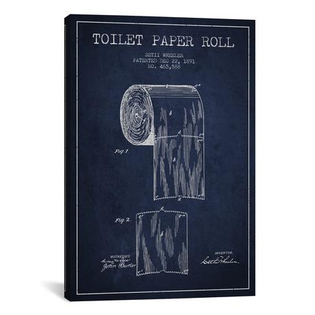 """Toilet Paper Navy Blue Patent Blueprint // Aged Pixel (18""""W x 26""""H x 0.75""""D)"""