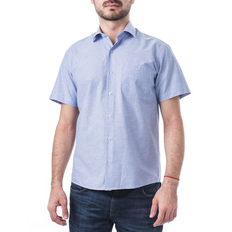 Ralph Short-Sleeve Button Up // Blue (XL)