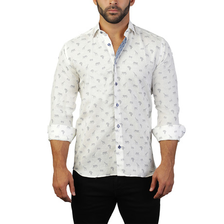 Fibonacci Animal Dress Shirt // White (L)