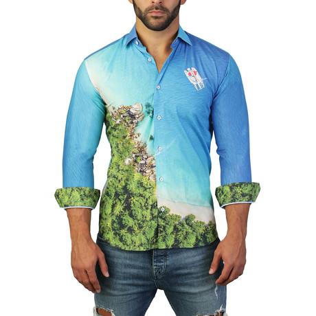 Fibonacci Exotic Dress Shirt // Blue (S)