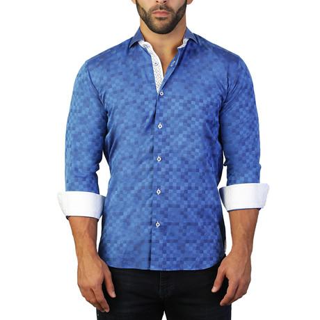 Einstein Staircase Dress Shirt // Navy Blue (S)
