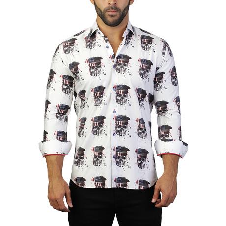 Fibonacci Skull America Dress Shirt // White + Multicolor (S)