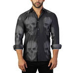 Fibonacci Skull Dress Shirt // Dark Black (XL)