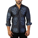 Fibonacci Skull Binary Dress Shirt // Charcoal (M)