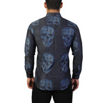 Fibonacci Skull Binary Dress Shirt // Charcoal (S)