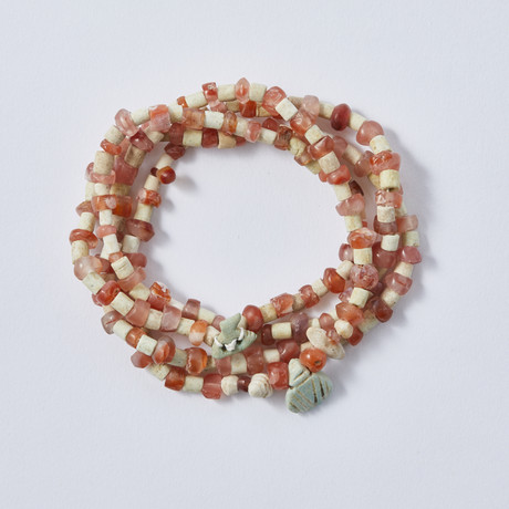 Strand Of Ancient Persian Carnelian And Faience Beads