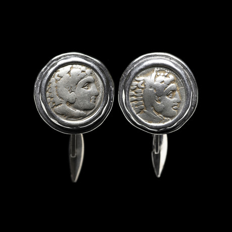 Alexander The Great, 336-323 BC. Silver Coin Cufflinks