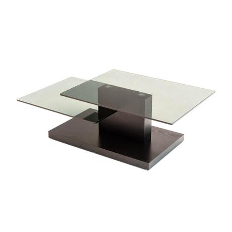Modrest Dove Coffee Table // Black Oak + Glass