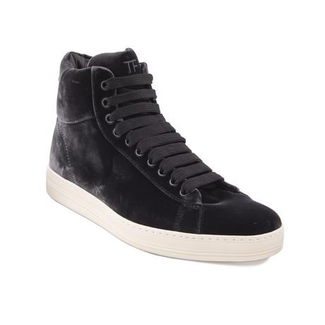 """Men's """"Russel"""" Velvet High Top Sneakers // Gray (US: 7)"""