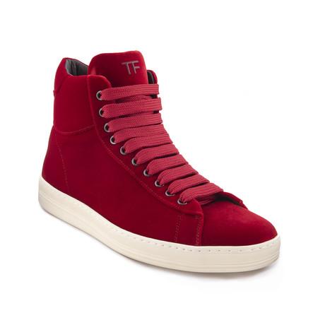 """Men's """"Russel"""" Velvet High Top Sneakers // Red (US: 7)"""