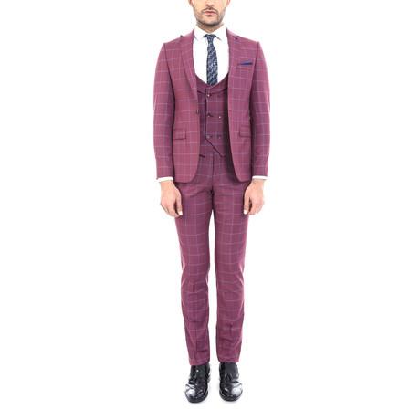 Jackson 3-Piece Slim-Fit Suit // Burgundy (Euro: 44)