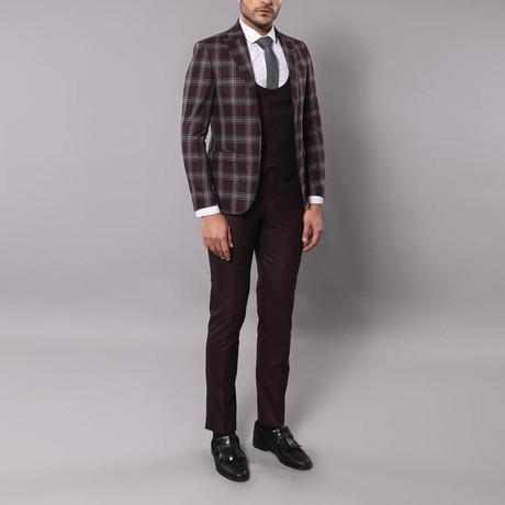 Reginald 3-Piece Slim-Fit Suit // Dark Burgundy (Euro: 44)