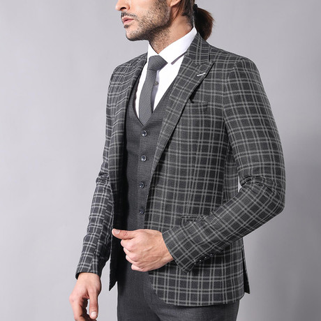Tristan 3-Piece Slim-Fit Suit // Smoke (Euro: 44)