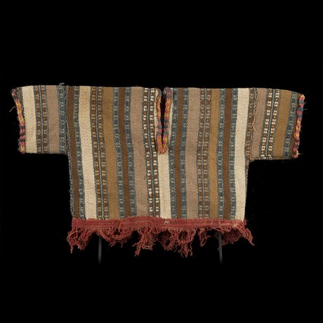 Nazca Pre-Colombian Poncho With Red Fringe // Peru Ca. 200-600 CE