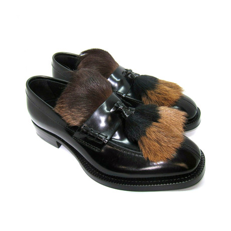 Fur-Tassel Tongue Loafers // Black (US: 7)