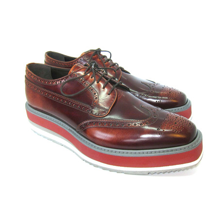Platform Wing Tip Shoes // Burgundy (US: 7)