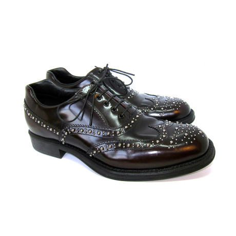 Studded Wing Tip Shoes // Brown (US: 7)
