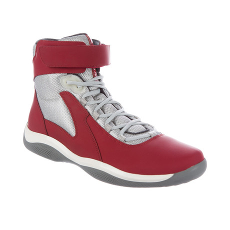 Hi-Top Sneakers // Silver + Red (US: 7)