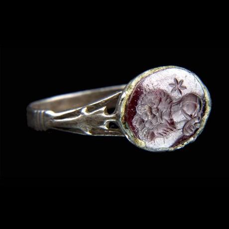Roman Carnelian Lion Intaglio Silver Ring // Roman Empire 100-300 CE