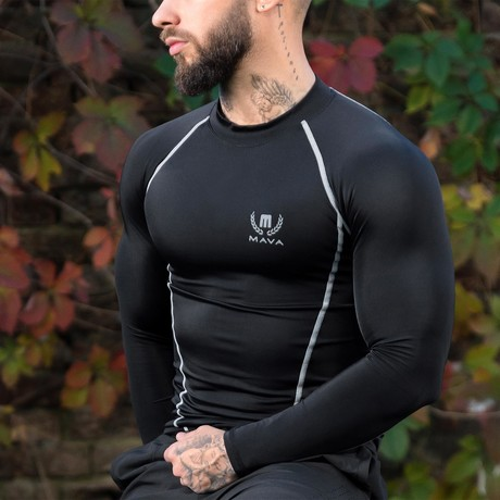 Compression Long Sleeve T-Shirt // Black + Silver (Small)