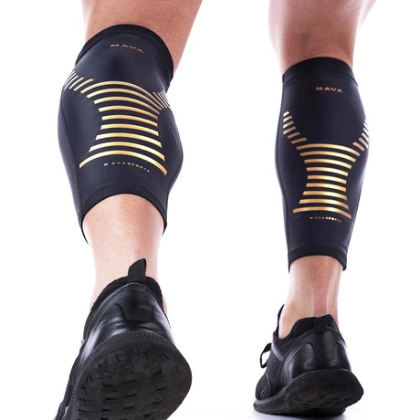 Compression Calf Sleeves // Black + Gold // 2-Pack (S)