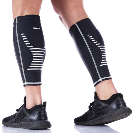 Compression Calf Sleeves // Black + Silver // 2-Pack (S)