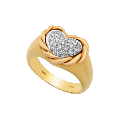 Estate 18k Gold Diamond Ring // Ring Size: 7