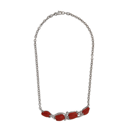 Estate 18k White Gold Diamond + Red Coral Necklace