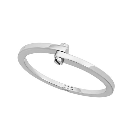 Vintage Cartier 18k White Gold Bypass Bangle