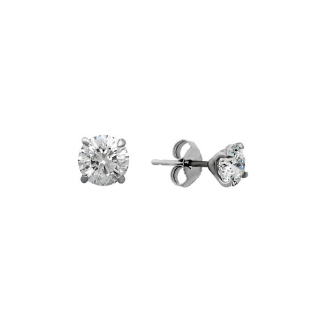 Estate 14k White Gold Brilliant Diamond Stud Earrings V