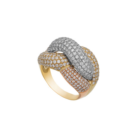 Estate 18k Two-Tone Gold Pave Diamond Ring // Ring Size: 11.75