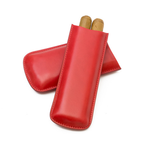 Genuine Smooth Leather Cigar Case // 2-Finger (Red)