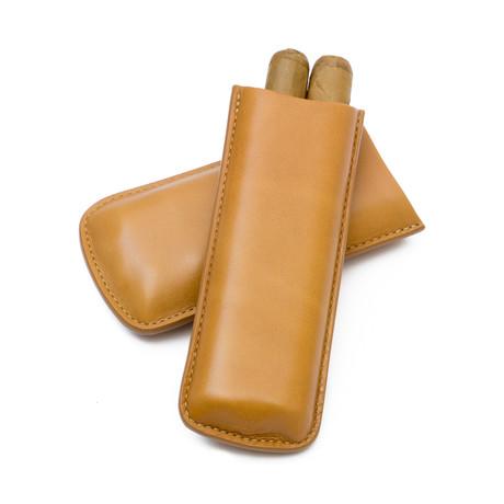 Genuine Smooth Leather Cigar Case // 2-Finger (Natural)