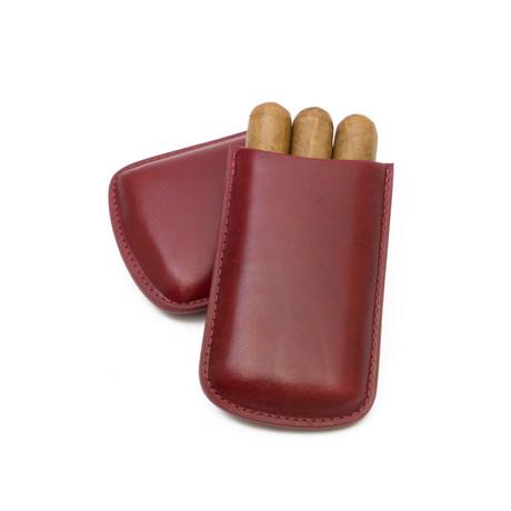 Genuine Smooth Leather Cigar Case // Robusto (Burgundy)