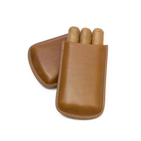 Genuine Smooth Leather Cigar Case // Robusto (Cognac)