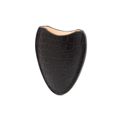 Crocodile Embossed Genuine Leather // Cigar Cutter Case (Black)