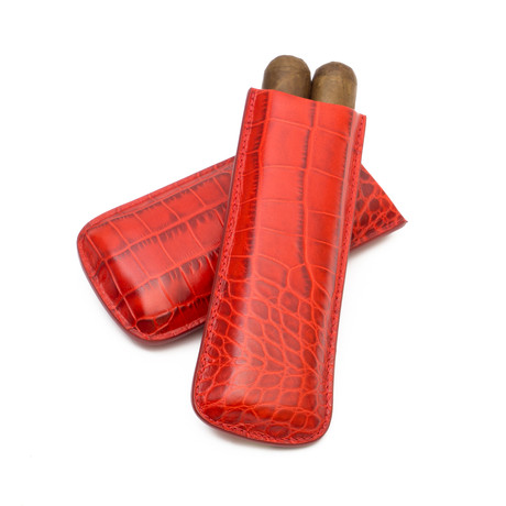 Crocodile Embossed Genuine Leather // 2-Finger Cigar Case (Red)