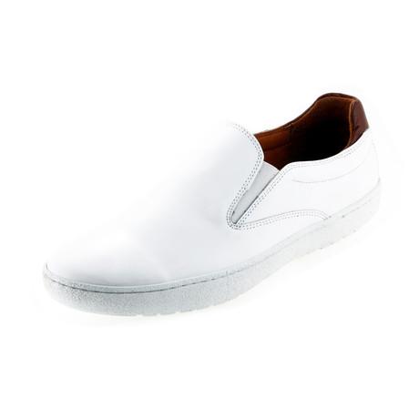MT0531 // Leather Slip-On-Sneaker // White + Tan (Euro: 40)