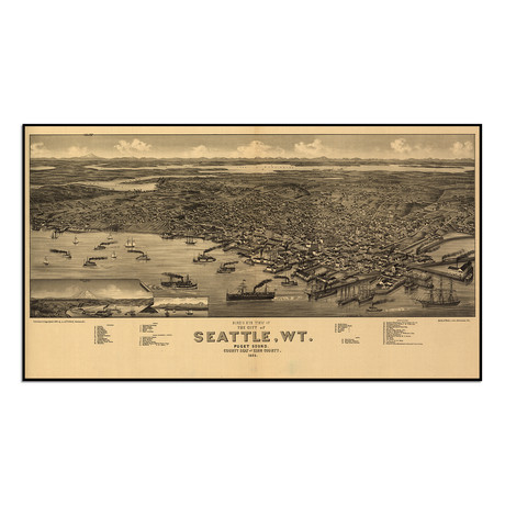 """Seattle, 1884 (13""""W x 7.25""""H)"""