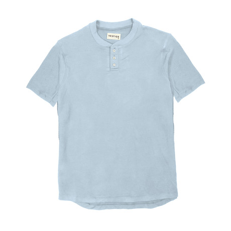 Baseball Short-Sleeve Polo Henley // Light Blue (S)